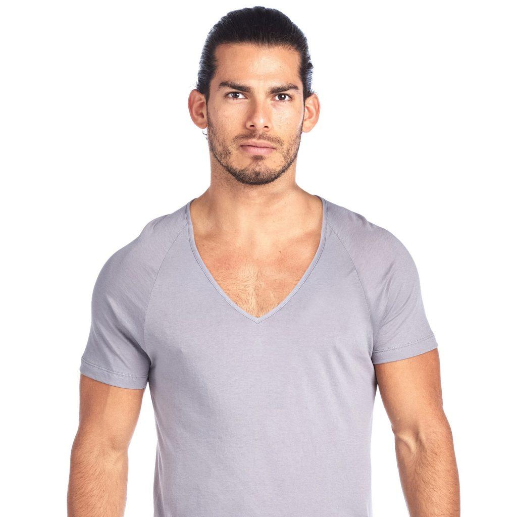 Shirtless Grey V Neck Undershirt